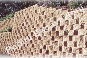 Sistema terra rinforzata con paramento a blocco (in figura blocco Rockwood).